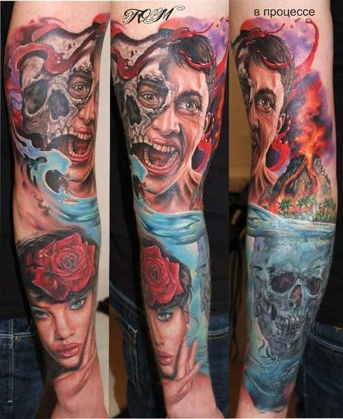 Colored horror style creepy looking sleeve tattoo of various human and monsters portraits