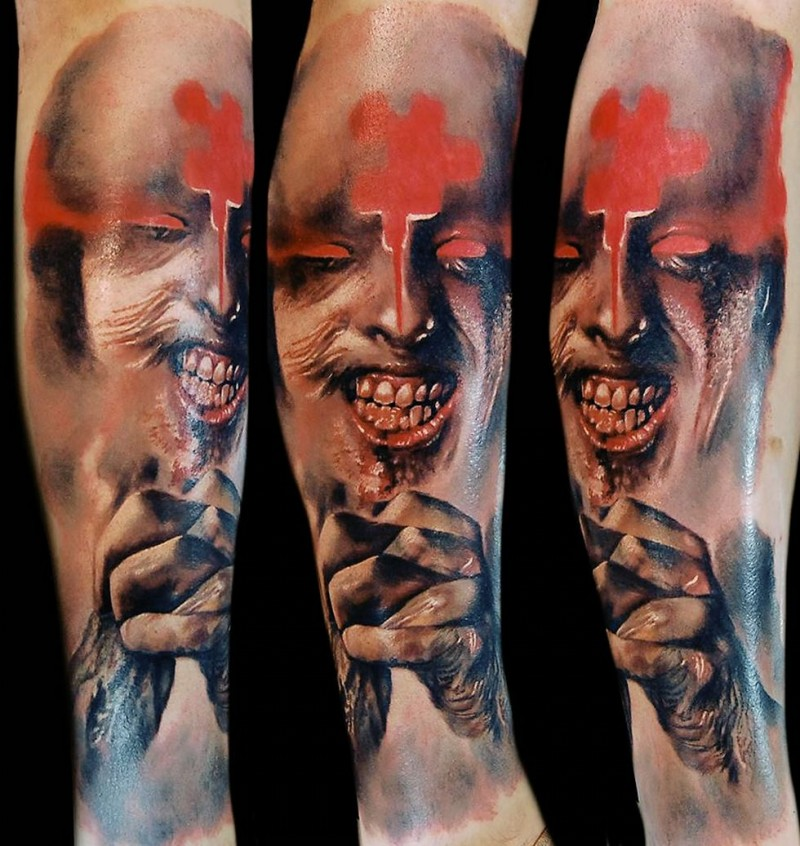 Colored horror style creepy looking tattoo of monster face