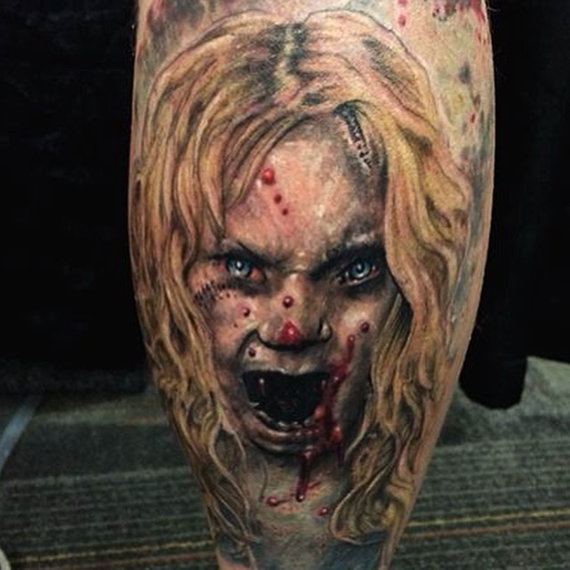 Colored horror style creepy looking zombie girl