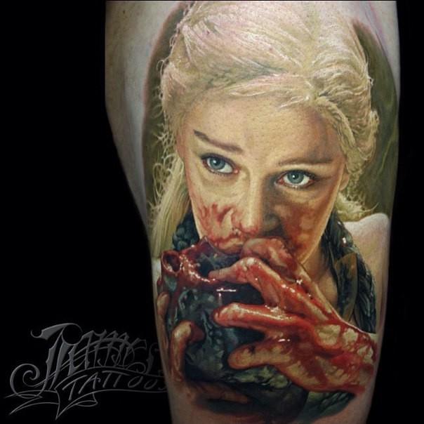 Colored horror style detailed bloody shoulder tattoo of woman eating heart