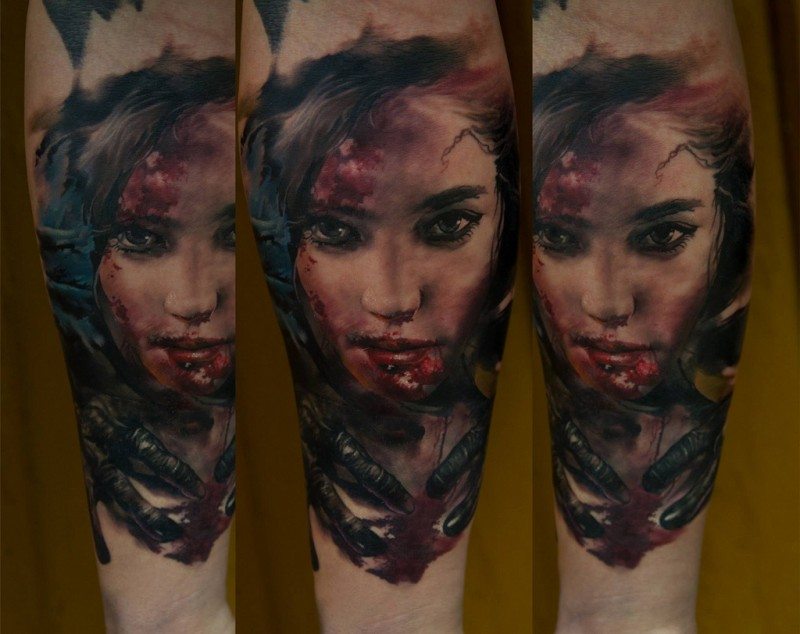 Colored horror style detailed forearm tattoo of bloody woman face