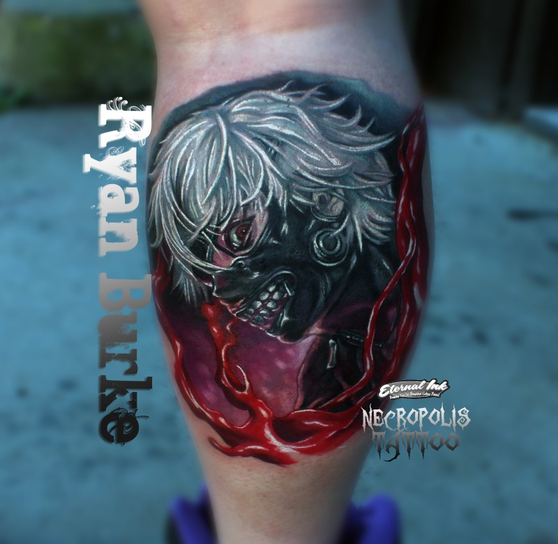 Colored horror style detailed leg tattoo of bloody demonic woman