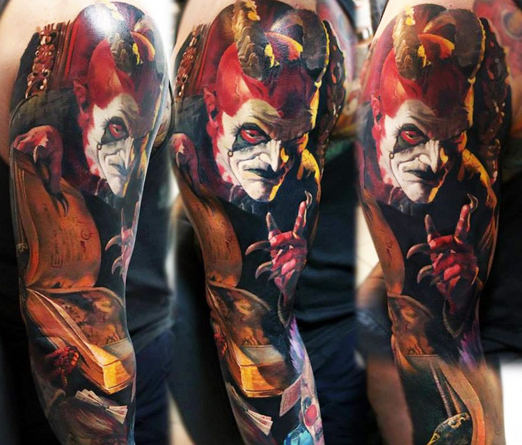 Colored horror style massive sleeve tattoo of devil with spell book