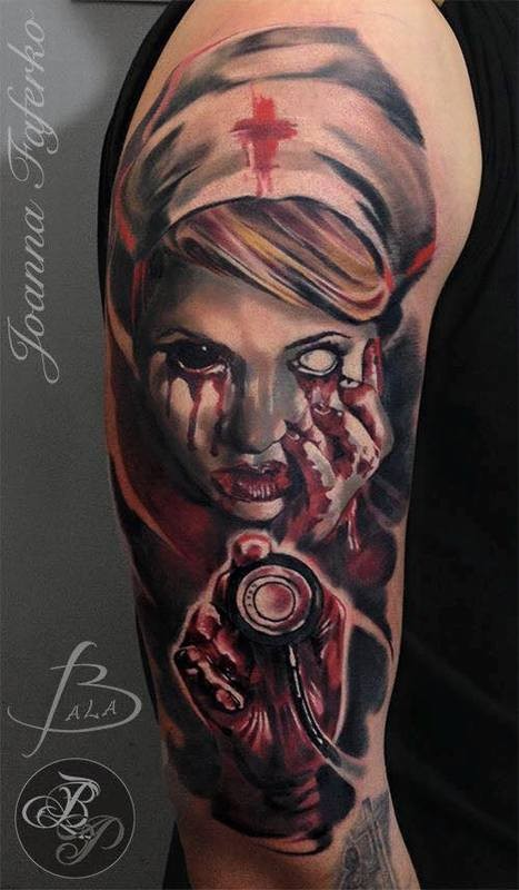 Colored horror style shoulder tattoo of creepy nurse