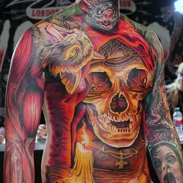 Colored horror style terrifying looking whole body tattoo