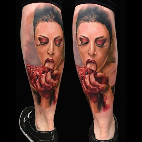 Colored horror style very detailed bloody woman with human heart