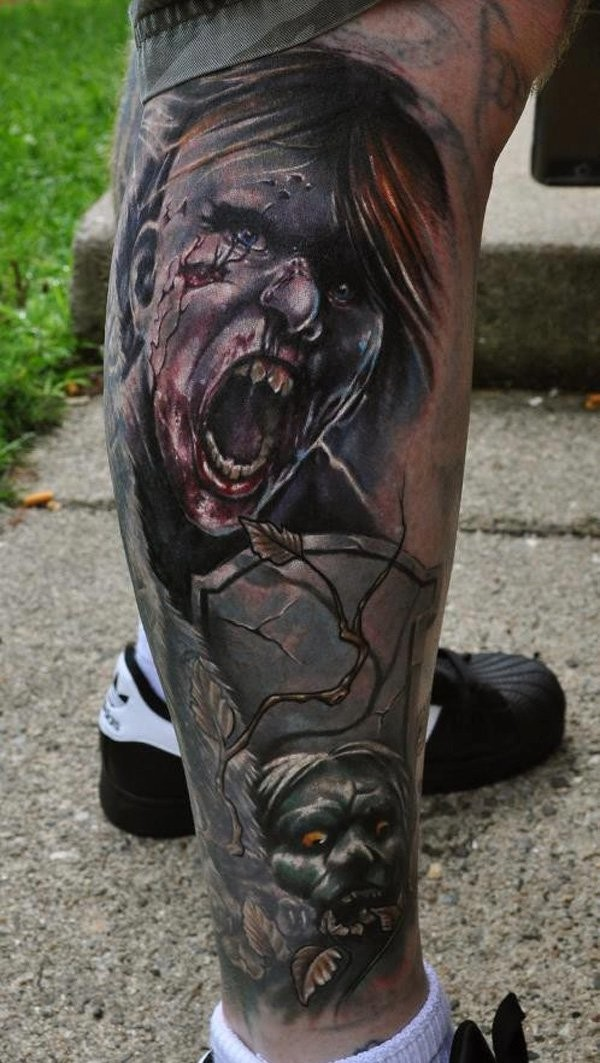 Colored horror style very detailed leg tattoo of various cemetery zombies