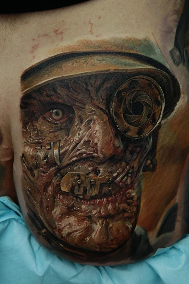 Colored horror style very detailed zombie soldier tattoo