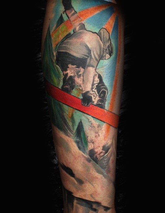 Colored illustrative style arm tattoo of cool snowboarder