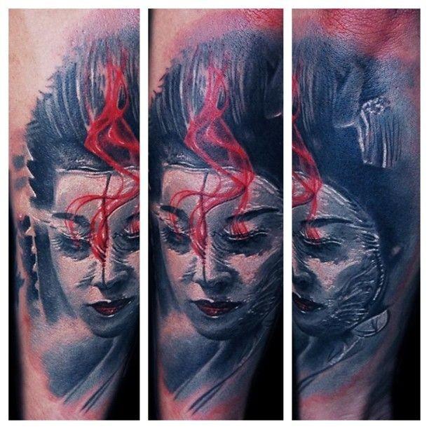 Colored illustrative style arm tattoo of geisha woman face