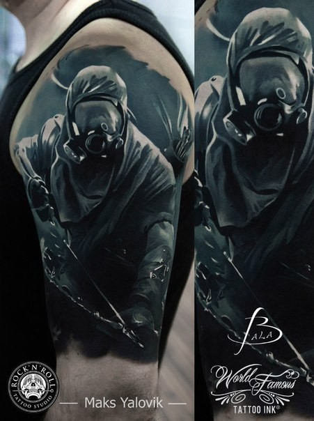 Colored illustrative style colored shoulder tattoo of creepy man with gasmask