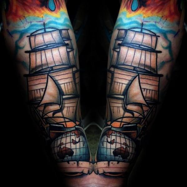 Colored illustrative style forearm tattoo of big sailing ship and globe