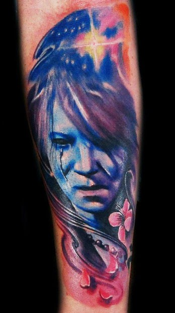 Colored illustrative style hand tattoo of fantasy woman face