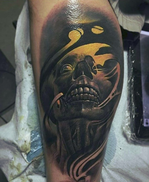 Colored illustrative style leg tattoo of creepy monster