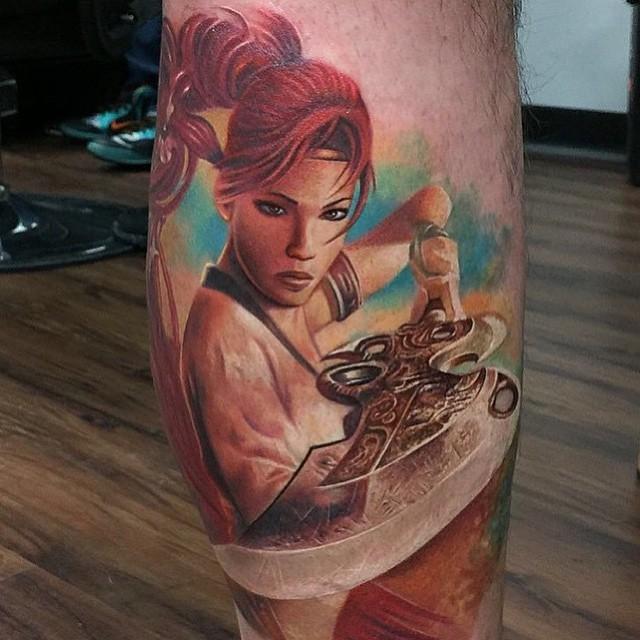 Colored illustrative style leg tattoo of fantasy woman warrior