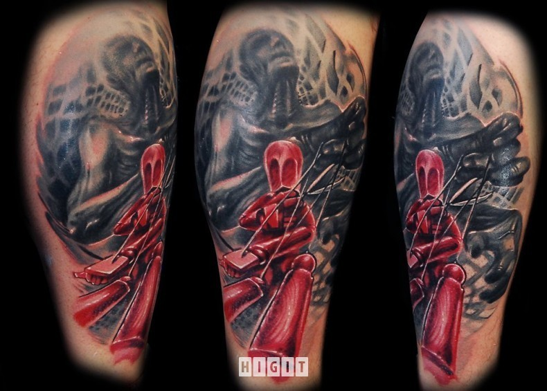 Colored illustrative style tattoo of fantasy doll with creepy human