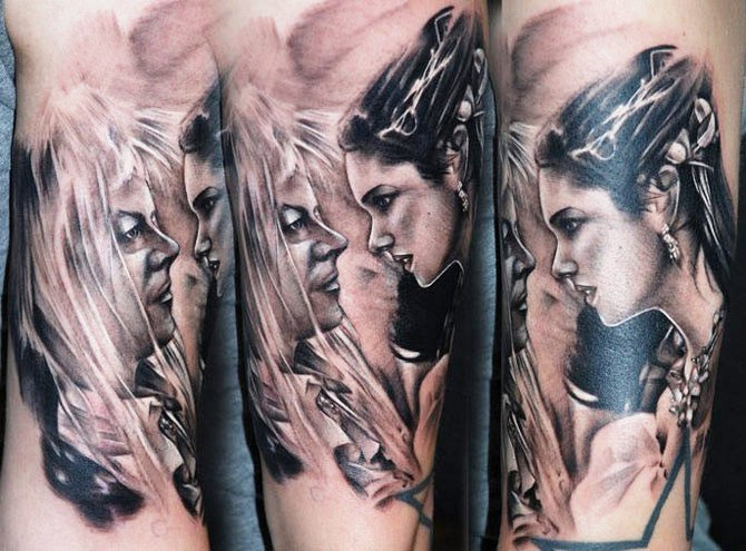 Colored illustrative style tattoo of woman