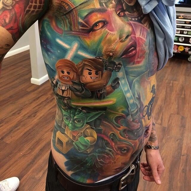 Colored illustrative style whole body tattoo of Lego star wars