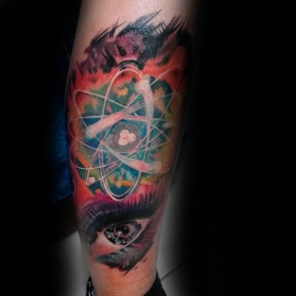 Colored interesting looking atom tattoo on leg