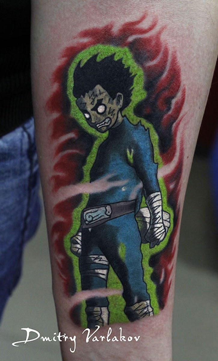 Colored japanese cartoons style forearm tattoo of demonic fighter boy