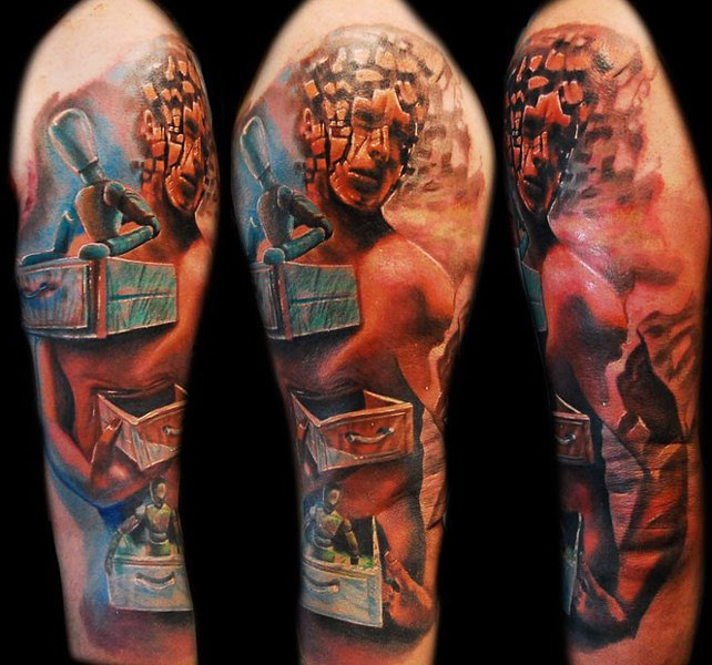 Colored large whole sleeve tattoo of incredible looking monster
