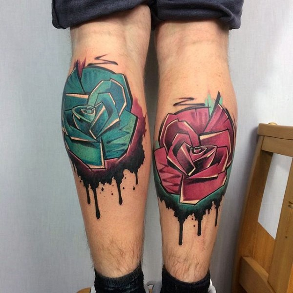 Colored leg tattoo of new school style flowers ...