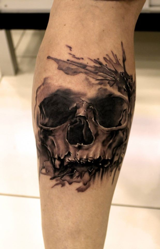 Colored medium size illustrative style leg tattoo of human for Skull leg tattoos