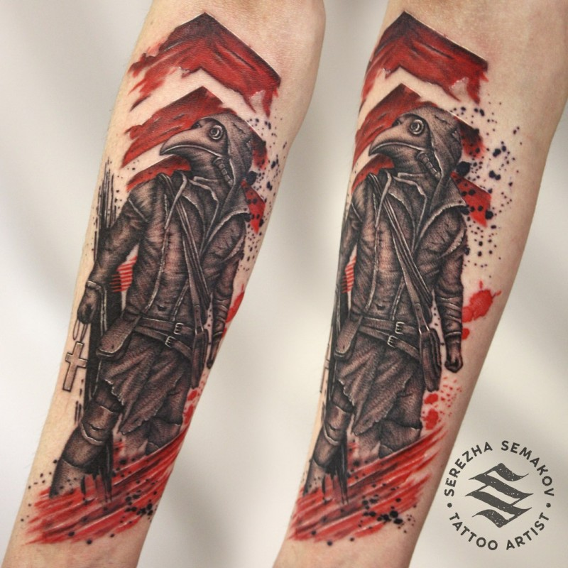 Colored modern style forearm tattoo of plague doctor with wooden cross