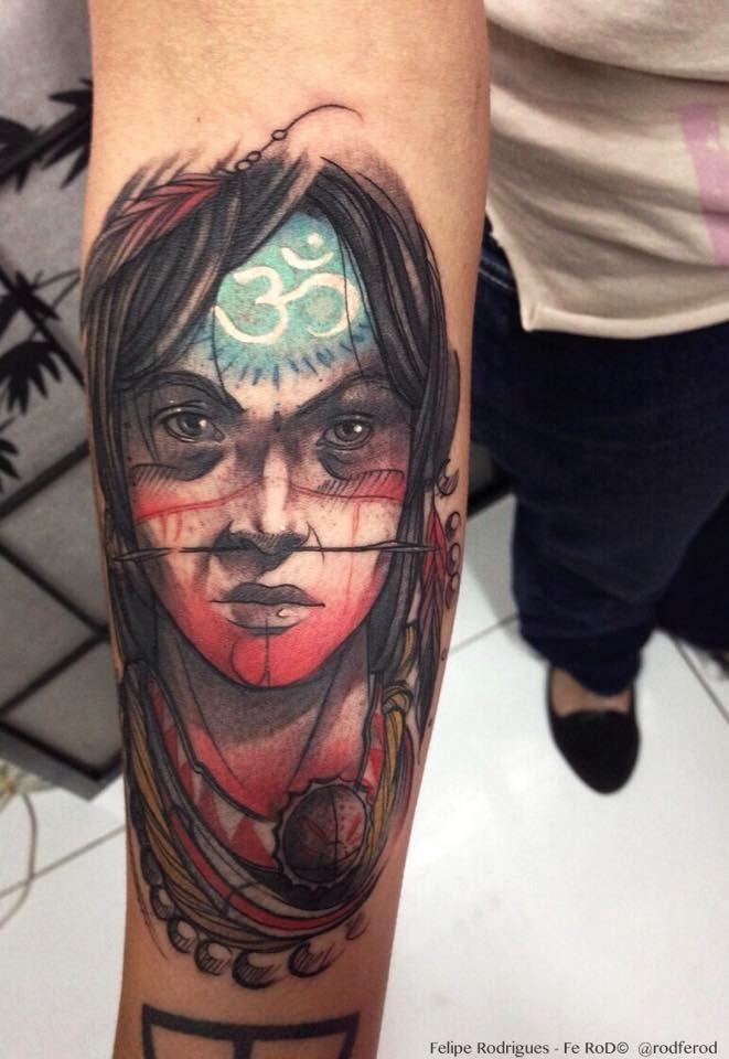 Colored new school style arm tattoo of woman with Asian symbol