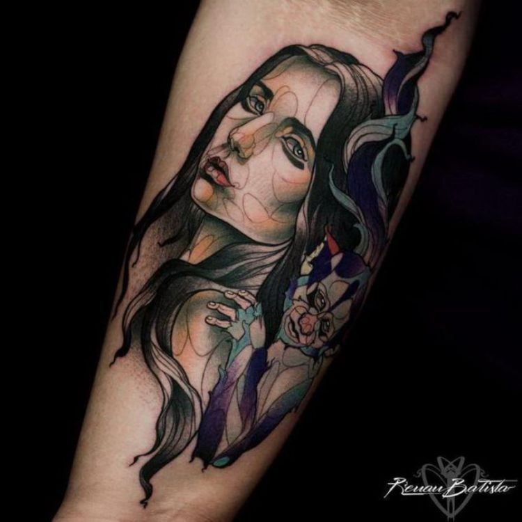 Colored new school style forearm tattoo of woman and little monkey