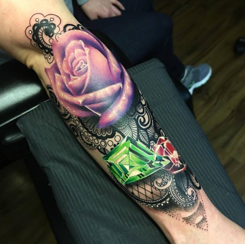 Colored new school style forearm tattoo of violet rose with diamonds
