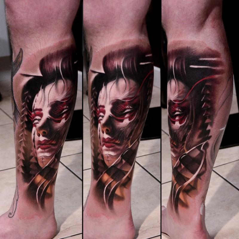 Colored New School Style Leg Tattoo Of Demonic Geisha Tattooimages Biz