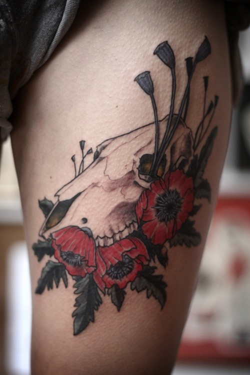 Colored new school style tattoo of animal skull with red flowers