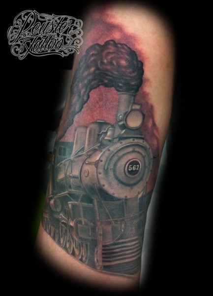Colored nice looking tattoo of steam train with number