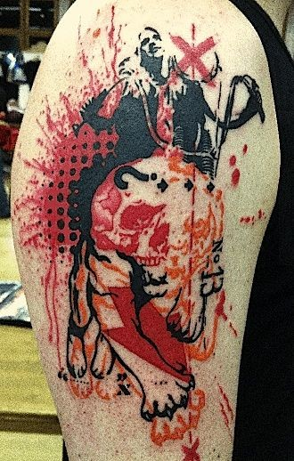 Colored photoshop style shoulder tattoo of various pictures