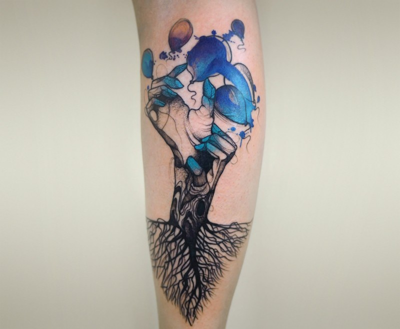 Colored psychedelic style leg tattoo of Joanna Swirska fantasy