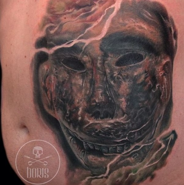 Colored realism style belly tattoo of ancient mummy