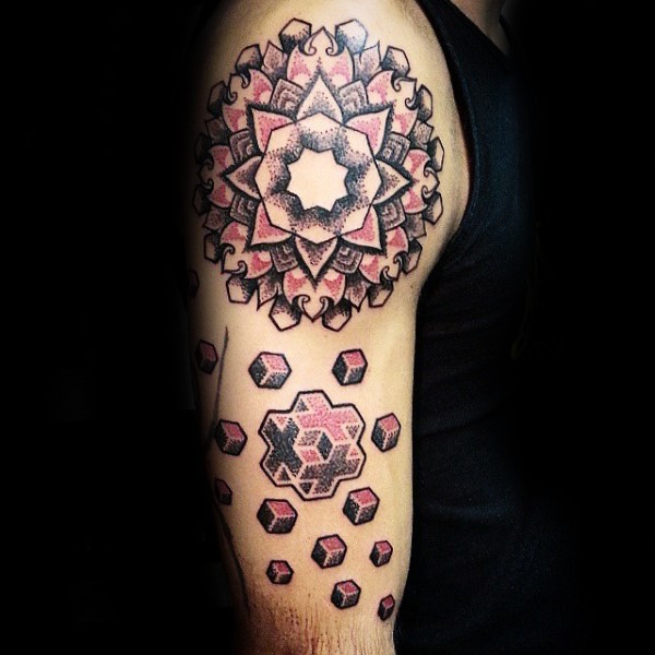 Colored shoulder tattoo of large ornamental flower with geometrical figure