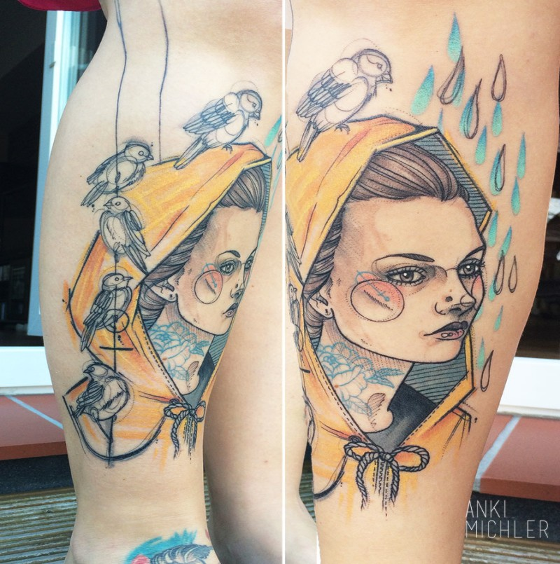 Colored sketch style colored leg tattoo of woman with birds