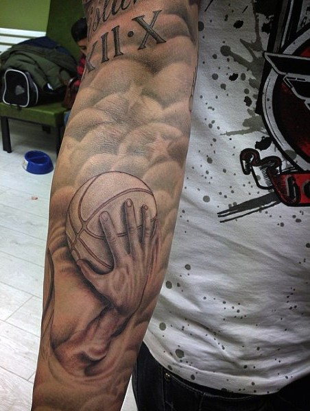 Colored sleeve tattoo of basketball hand with stars - Tattooimages.biz