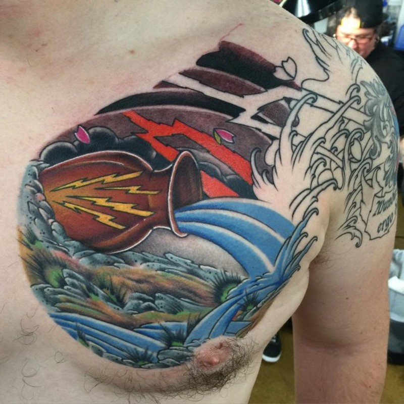 Colored small funny chest tattoo of Aquarius symbol