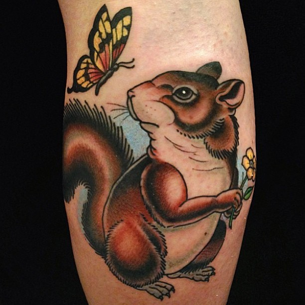 Colored squirrel with butterfly tattoo