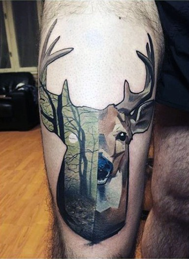 Colored thigh tattoo of half deer half forest