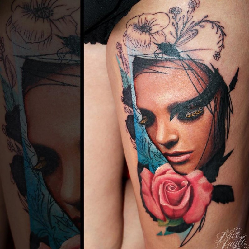 Colored thigh tattoo of woman with pink rose