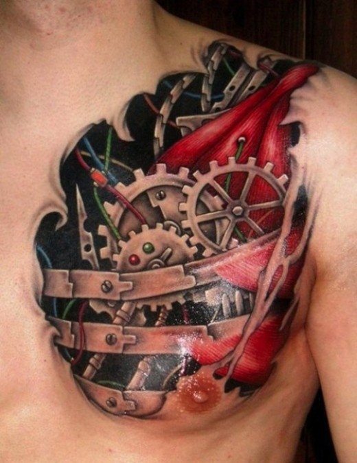 Colored very detailed chest tattoo of biomechanical heart