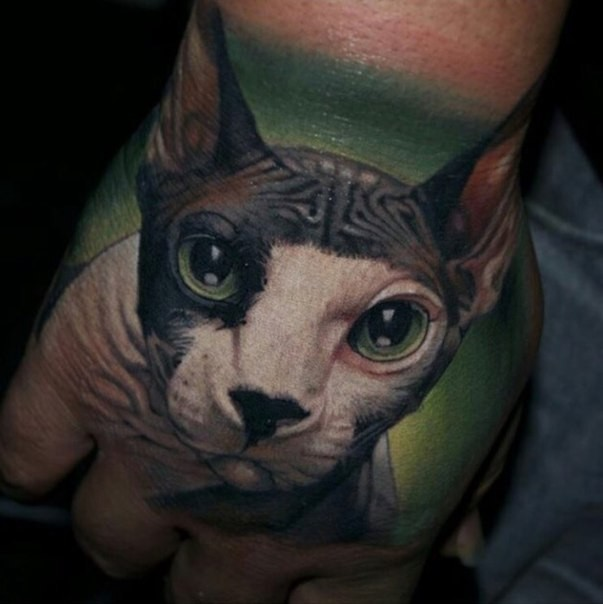 Colored very detailed hand tattoo of cute cat