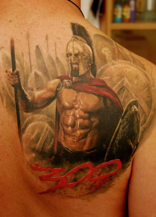 Colorful 300 spartans tattoo on chest by dmitriy samohin