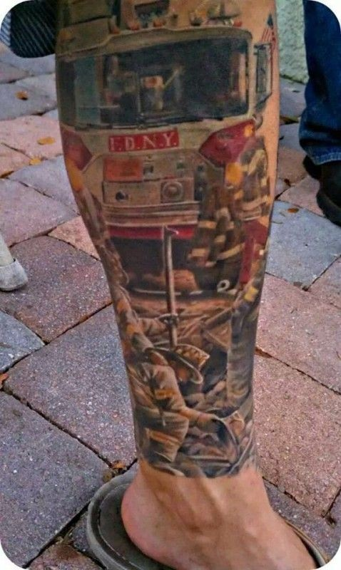 Colorful FDNY memorial tattoo on leg