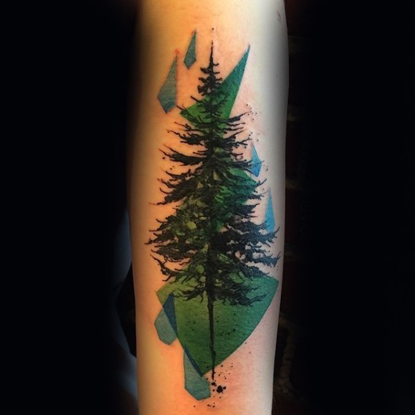 Colorful abstract style forearm tattoo of tree with various geometrical figures