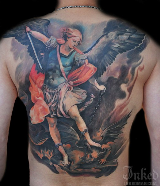 Colorful angel with a sword and demons tattoo on whole back